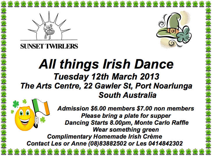 Sunset Twirlers All Things Irish Dance Ad 2013